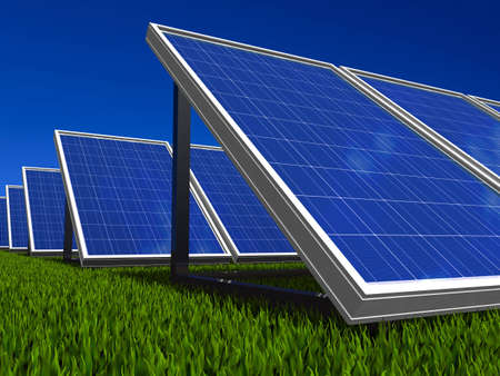 collector: Solar panel . Green energy from sun. Stock Photo
