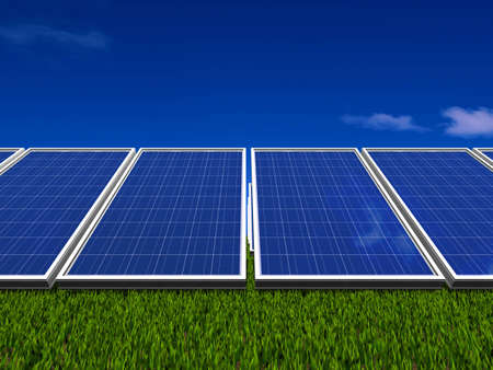 electric cell: Solar panel . Green energy from sun. Stock Photo