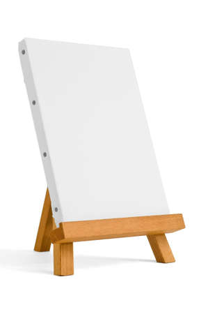 easel for artist. tripod for painting with empty canvas. photo