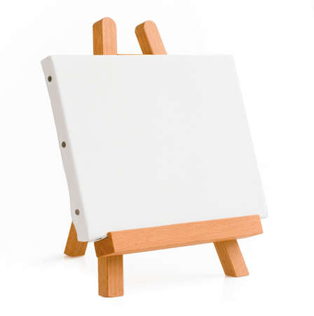 tripod: easel for artist. tripod for painting with empty canvas.