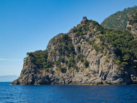 Beautiful sea landscape with rocks and blue sky