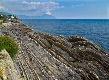 Beautiful sea landscape with rocks and blue sky