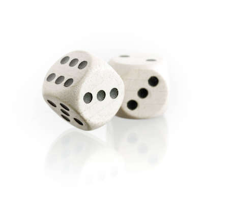 dices: Two dice with reflection on a white background