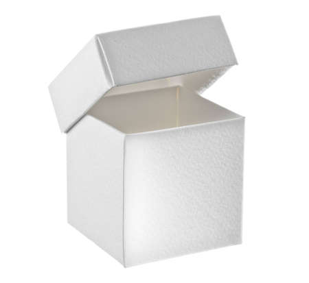 Open paper box on white background Stock Photo