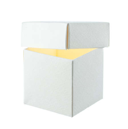 Open paper box on white background Stock Photo