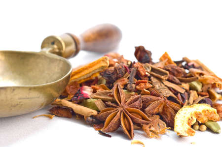 Tisane ingredients. Herbal tea with leaves, fruits and herb on a white background Stock Photo - 11397685