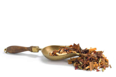 Tisane ingredients. Herbal tea with leaves, fruits and herb on a white background