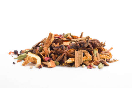 dry fruit: Tisane ingredients. Herbal tea with leaves, fruits and herb on a white background
