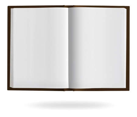 page: Open book with blank pages and clipping path on a white background