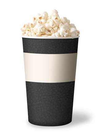 bucket of popcorn isolated on white background  grey color Stock Photo - 12873548