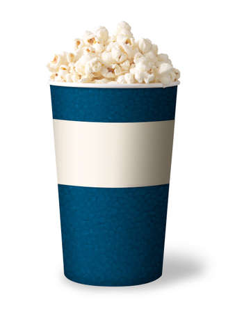 bucket of popcorn isolated on white background  blue color  photo