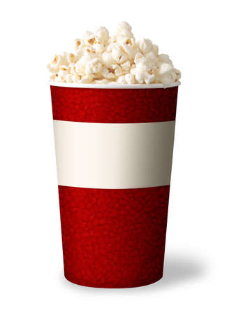 bucket of popcorn isolated on white background  red color  photo