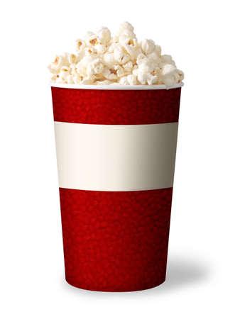 popcorn: secchio di popcorn isolato su sfondo bianco rosso