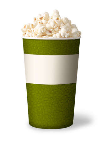 bucket of popcorn isolated on white background  green color  photo