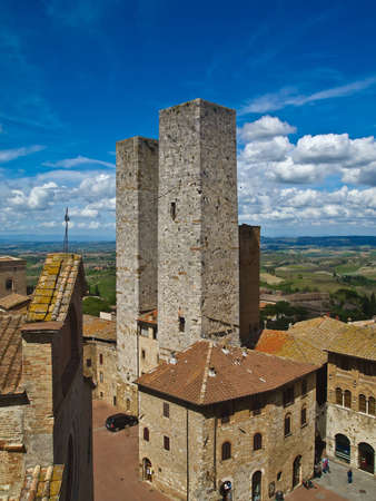 Twin towers in a medieval city  San Gimignano, Tuscany, Italy Stock Photo - 13735144