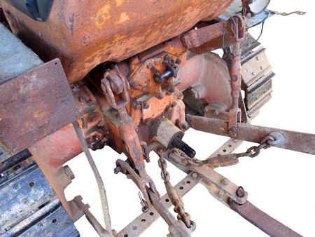 crawler: Rear view of old italian crawler tractor on white background