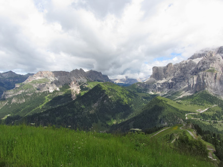 selva: Panoramic mountain view of the Dolomites from Champinoi mountain, Selva di Valgardena, South Tyrol - Italy Stock Photo