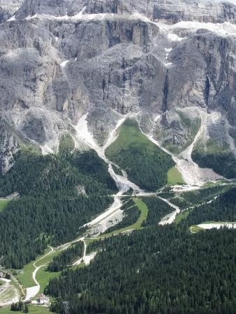 selva: Panoramic mountain view of the Dolomites from Champinoi mountain, Selva di Valgardena, South Tyrol - Italy Stock Photo