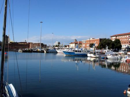 leghorn: Pier fishing boats moored. Leghorn, Italy