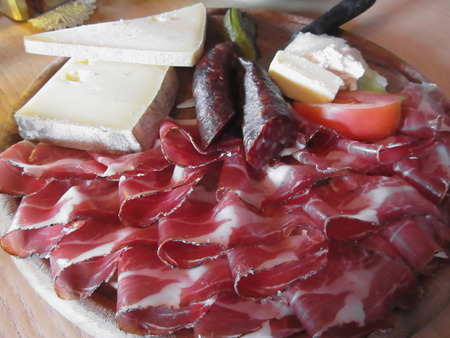 tyrolean: Typical South Tyrolean snack with speck, mountain cheese, smoked sausages and mountain butter