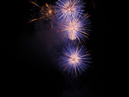 light up: Colorful fireworks of various colors light up the night sky