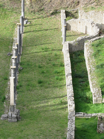 volterra: Ruins of a antique roman amphitheater in Volterra, Province of Pisa, Tuscany, Italy