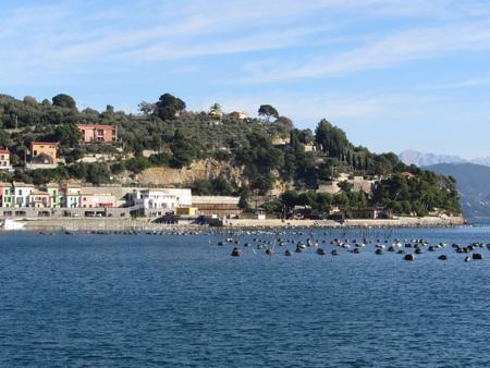 golfo: Landscape of Golfo Dei Poeti with its mussel farm in the sea. Province of La Spezia, Italy