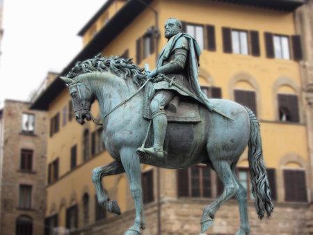 Equestrian statue of Cosimo de Medici in Piazza della Signoria, Florence, Italy . Editorial
