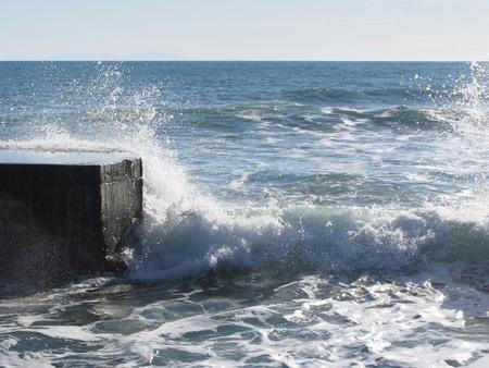 stormy sea: Stormy sea along Tuscany coastline in Livorno, Italy Stock Photo