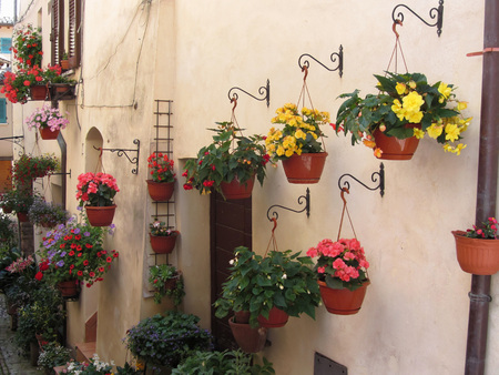 spello: Alley with flowers in old village of Spello, Italy