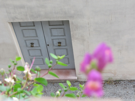 view of a wooden doorway: Closed wooden front door to a home with blurred flowers in foreground . View from above Stock Photo