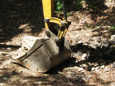 earthmover: The bucket of the yellow excavator sits at rest in the wood