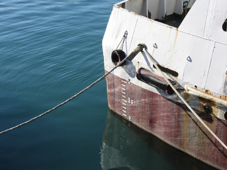 depth measurement: Waterline marked on the ship with draft scale numbering Stock Photo