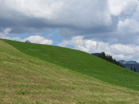 Grassy field at the rolling hill against a cloudy sky