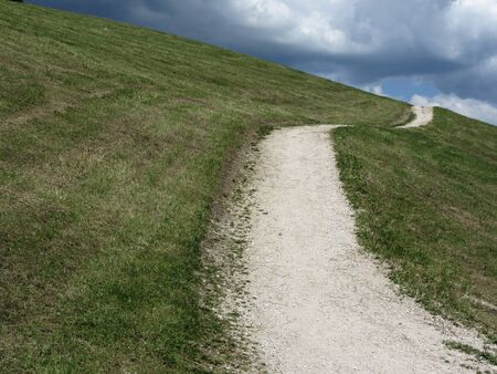 Footpath leading through a green alpine pasture at summer . La Villa, Bolzano, Alto Adige, South Tyrol, Italy