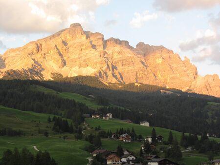 Sunset Dolomites landscape at summer . View from La Villa village, Bolzano, Alto Adige, South Tyrol, Italy Standard-Bild