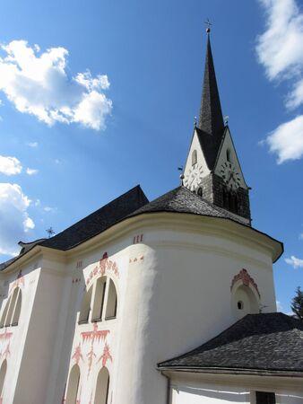 Parish church of St Jakob and St Leonard . Badia, Bolzano, Alto Adige, South Tyrol, Italy Standard-Bild
