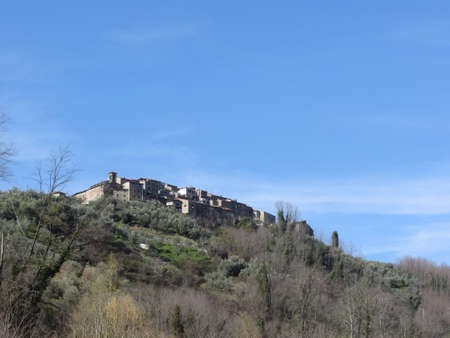 Panorama of Castelvecchio village, province of Pistoia. Tuscany, Italy