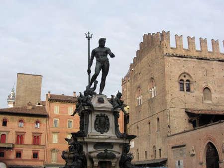 The Fountain of Neptune in Piazza del Nettuno next to Piazza Maggiore, Bologna Italy Foto de archivo