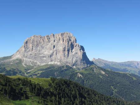 Sassolungo mountain group of the italian Dolomites at sunny summer day. ValGardena, South tyrol Standard-Bild