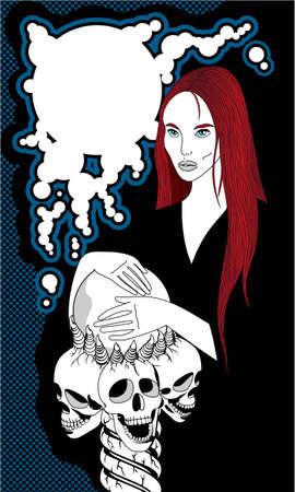 redheaded: Ilustraci�n de una bruja con una bola de cristal con el apoyo de tres cr�neos