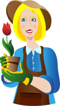 Woman gardener with a tulip Vector