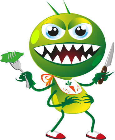 grin: cartoon of a pest insect with fork and knife
