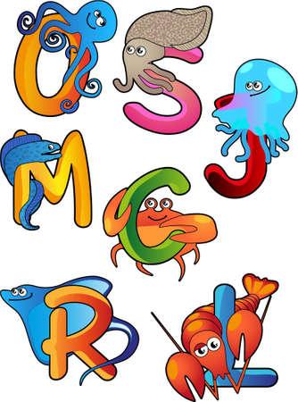 Animales divertidos del mar con las letras iniciales de su nombre Inglés