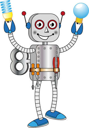 Robot which shows two models of bulb Stock Vector - 13707983