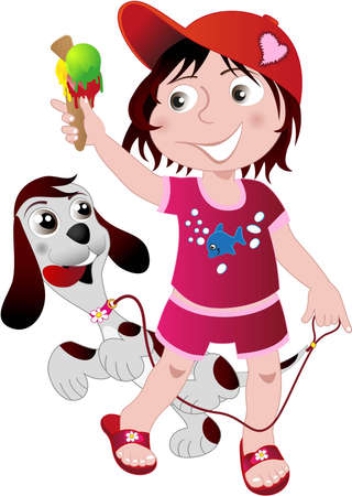 Kid walking with an ice cream and a puppy Vector