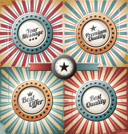 Retro and vintage backgrounds and labels Vector