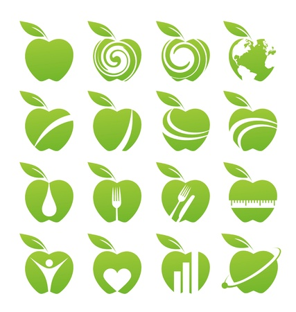 apfel: Apple-Symbol-Set Illustration