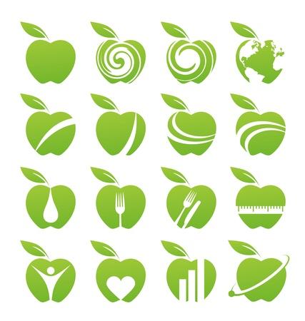 Manzana icon set Ilustración de vector