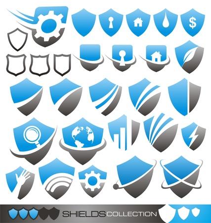 방패: 보안 방패 - 기호, 아이콘과 로고 개념 컬렉션